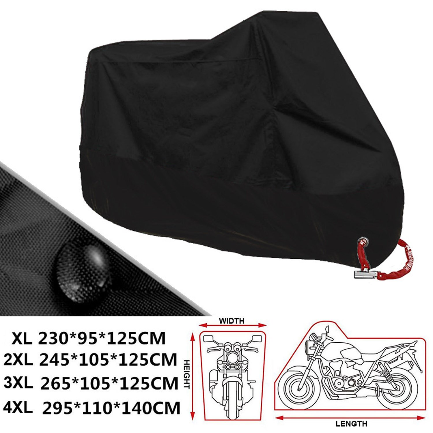 ANFTOP Motorcycle Cover 4XL Motorbike Scooter Cover Black Color White Lock Holes Waterproof UV Protective Cover XXXXL .