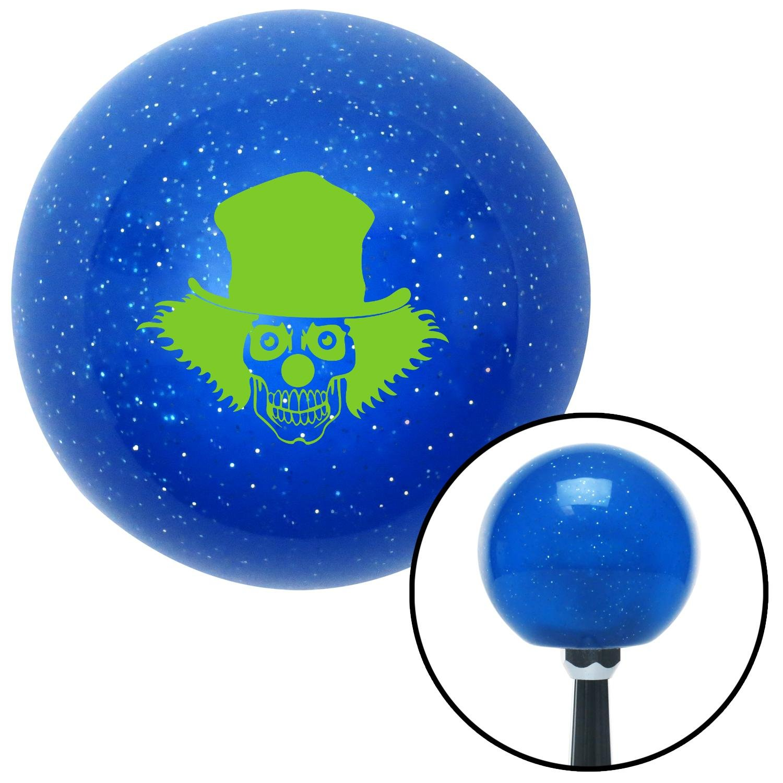 American Shifter 19673 Blue Metal Flake Shift Knob Green Skull Clown