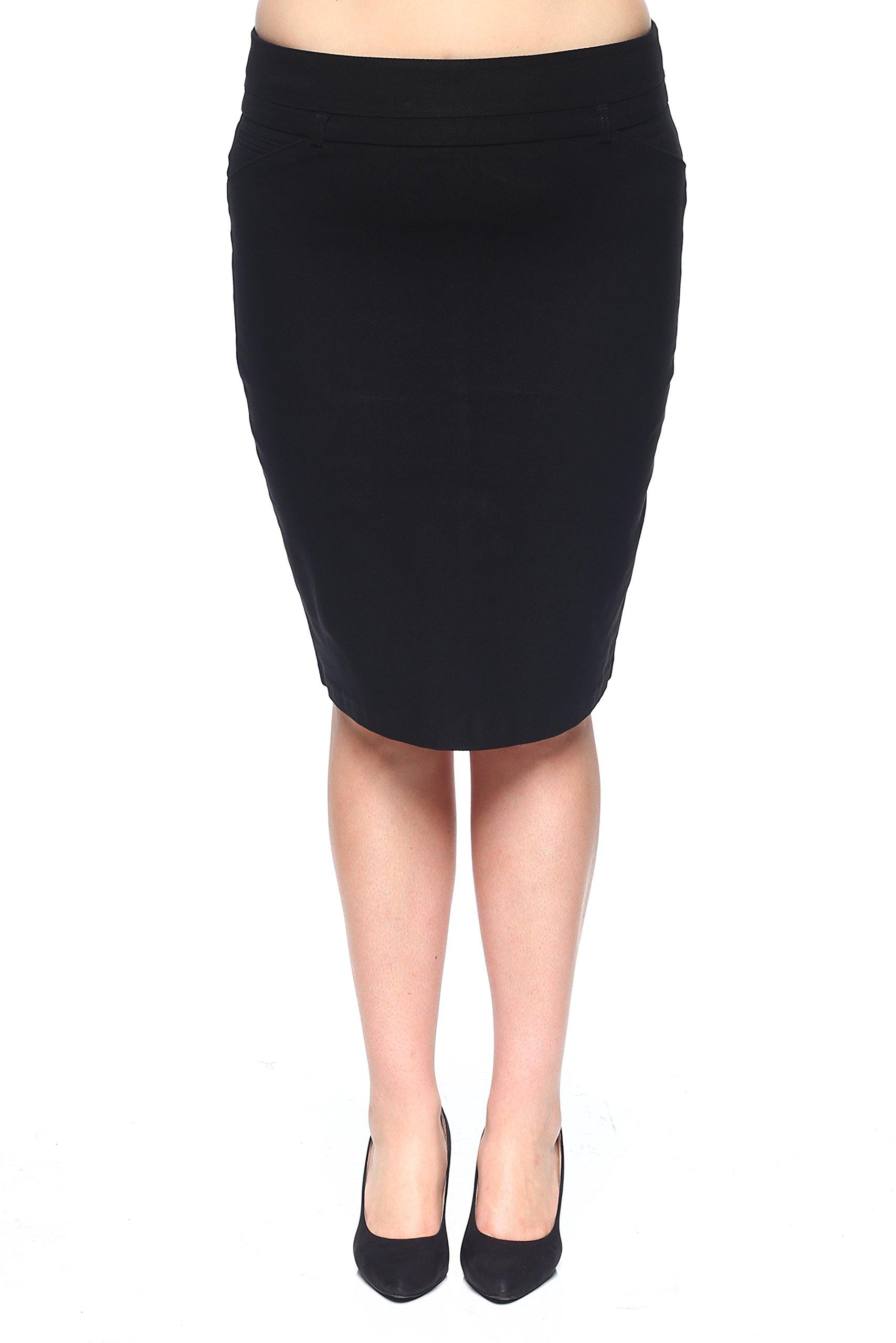 Rokoko Women's Plus-Size High Waist Midi Knee Office Work Pencil Skirt - 1XL - Black
