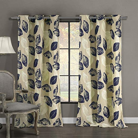Duck River Textiles – Milzie Floral Leaf Linen Textured Grommet Top Window Curtains for Living Room Bedroom – Assorted Colors – Set of 2 Panels 40 X 84 Inch – Navy