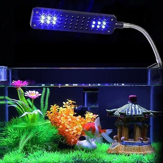 NICREW LED Luces para Acuario Clip, 48 LED Acuario Peces Tanque Abrazadera Clip Lámpara Luz, Iluminación LED para Acuarios Plantados con Luz Azul y Blanca, ...