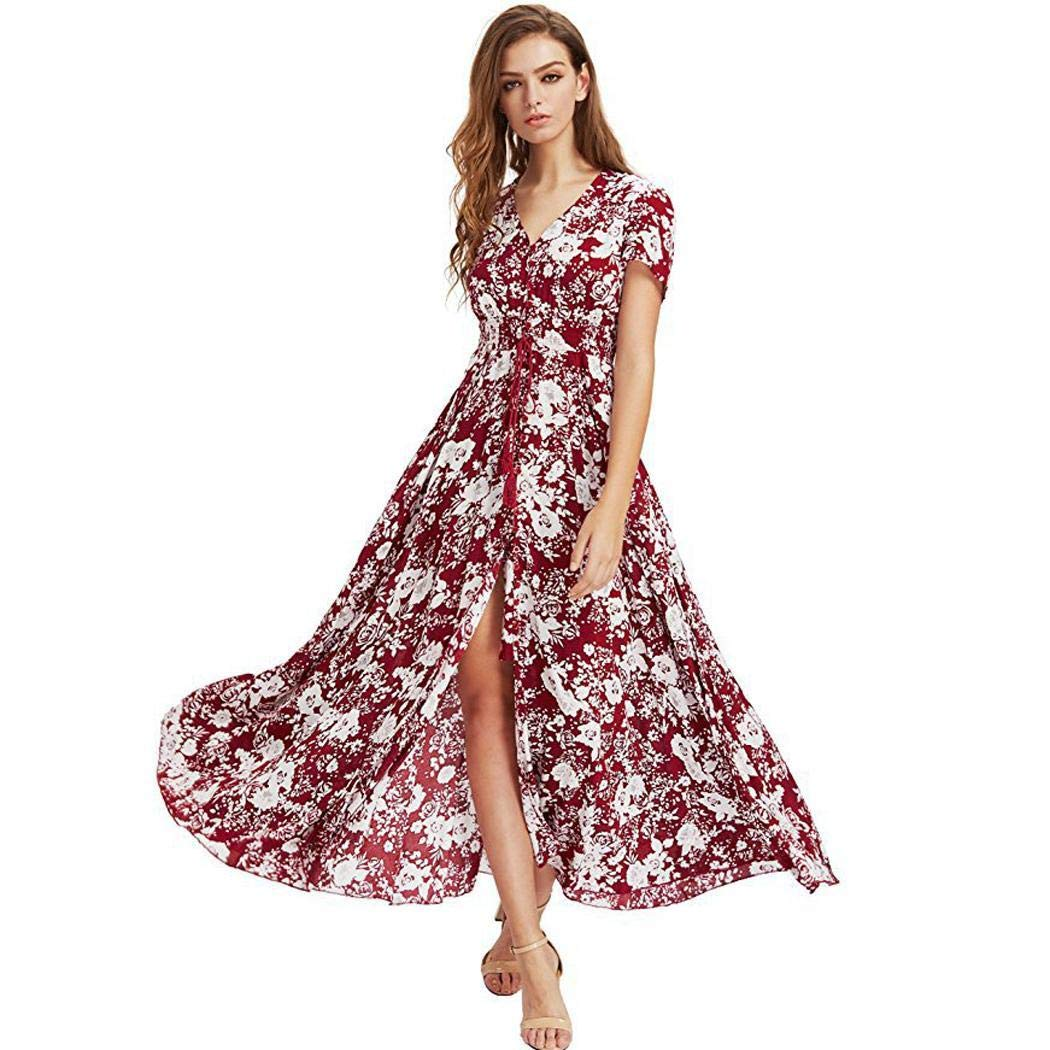 Women's Button Up Split Dress Floral Print Flowy Party Maxi Dress