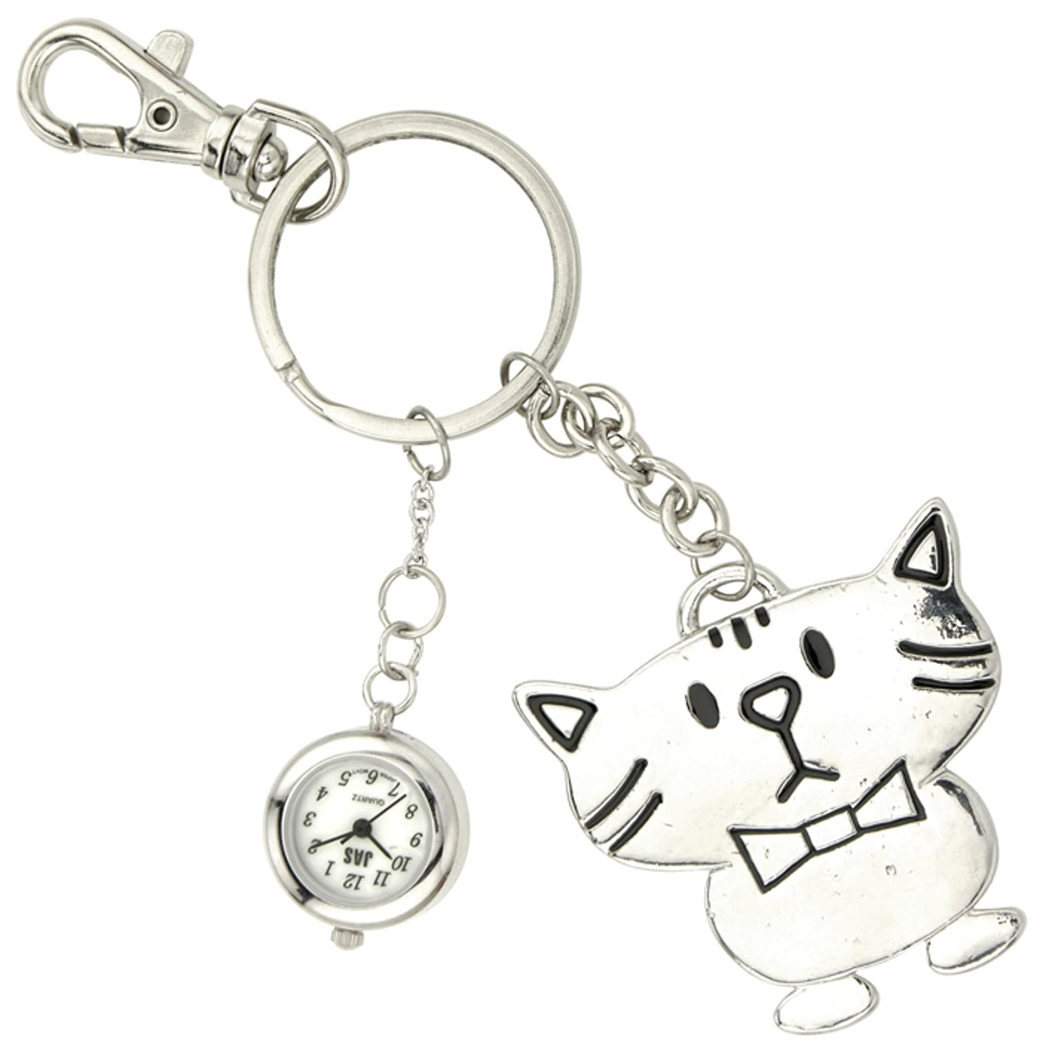 JasユニセックスNovelty Belt Fob / Keychain Watch Cool Cat Silver Tone   B00G2SSNKS