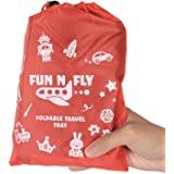 Fun N' Fly Foldable Travel Tray - Blue Red Portable Durable Kids, Toddler, Baby Play Space and Snack Desk for Airplane Travel
