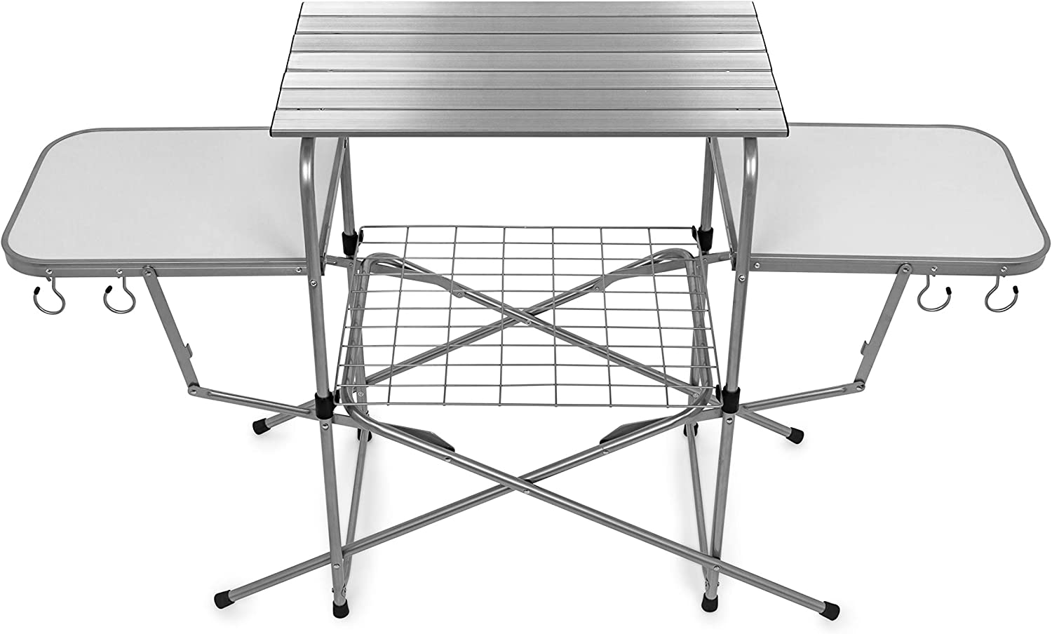 Amazon Com Camco Deluxe Folding Grill Table Great For Picnics Tailgating Camping Rving And Backyards Quick Set Up And Folds Down To Only 6 Inches Tall For Convenient Storage 57293 Automotive