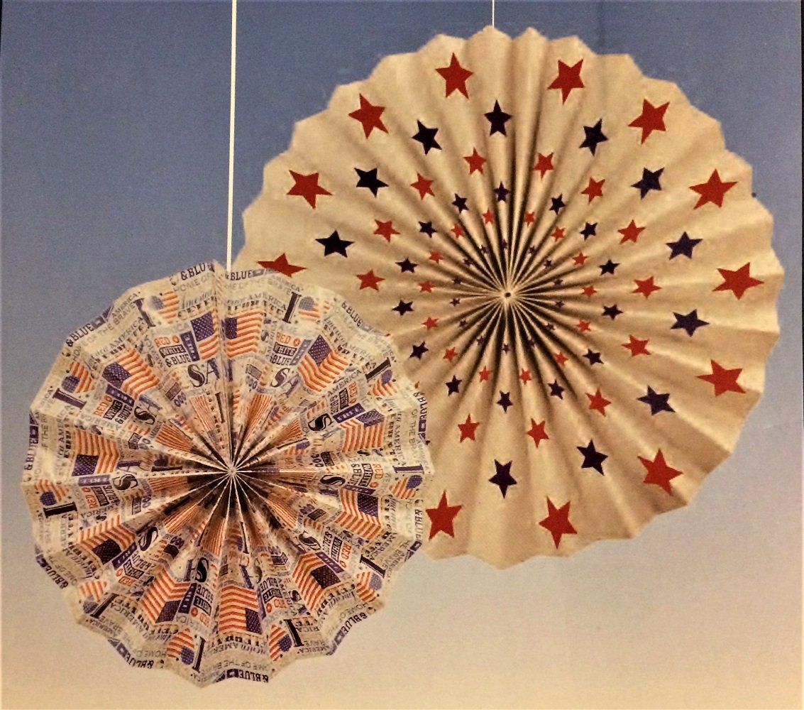 Patriotic Hanging Paper Fan Decorations, 14'' and 10'', 6-pc Set by Greenbrier (Image #4)