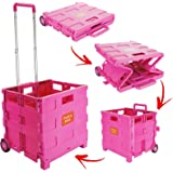 25KG Large Multi Purpose Folding Boot Cart Shopping Trolley Telescopic Pull Handle Rolling Rubber Wheels Heavy Duty Storage Box Tidy Crate - Pink