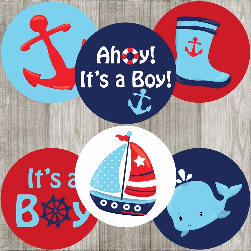 Ahoy It's a Boy Nautical Sticker Labels - Baby Shower Thank You Party Favor Sticker - Set of 30