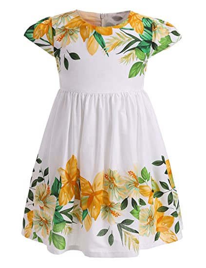 079b4e8dfa44 Amazon.com: AbaoSisters Little Girls Floral Dress with Cap Sleeves 2 ...