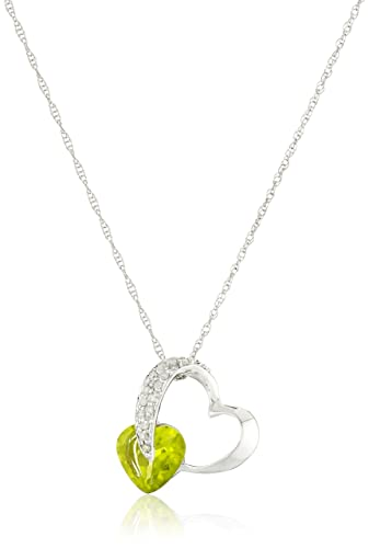 ff7fd89e5cf0d Amazon.com: 10k White Gold Peridot and Diamond Pendant Heart ...
