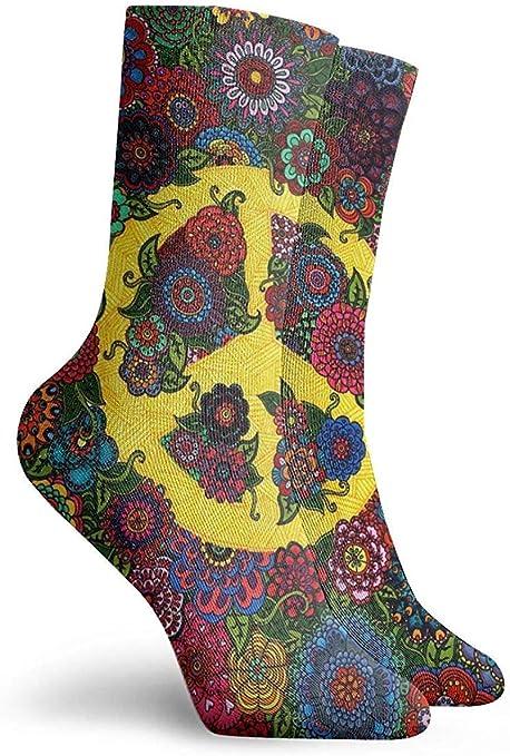 REordernow Paese fiore giallo segno di pace arte unisex adulto leggermente imbottito calzini alla caviglia uomo donna calzini alla caviglia maglia uomo calzini casual comfort taglio basso