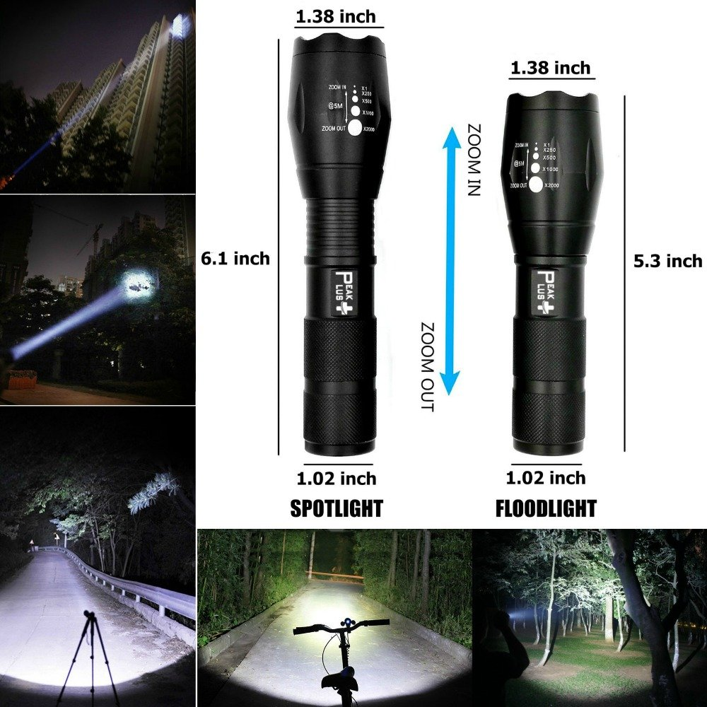 LED Tactical Flashlights High Lumens - PeakPlus PFX1000 [2 Pack] Super Bright EDC Flashlight with Holster, Bike Mount - LED Flashlights, Zoom, 5 Modes For Camping, Fishing and Emergency by PeakPlus (Image #2)