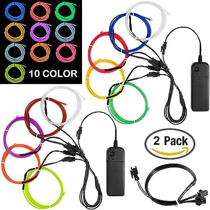 Amazon.com : 10 Pack 3ft Portable EL Wire, DanziX Neon Light for ...
