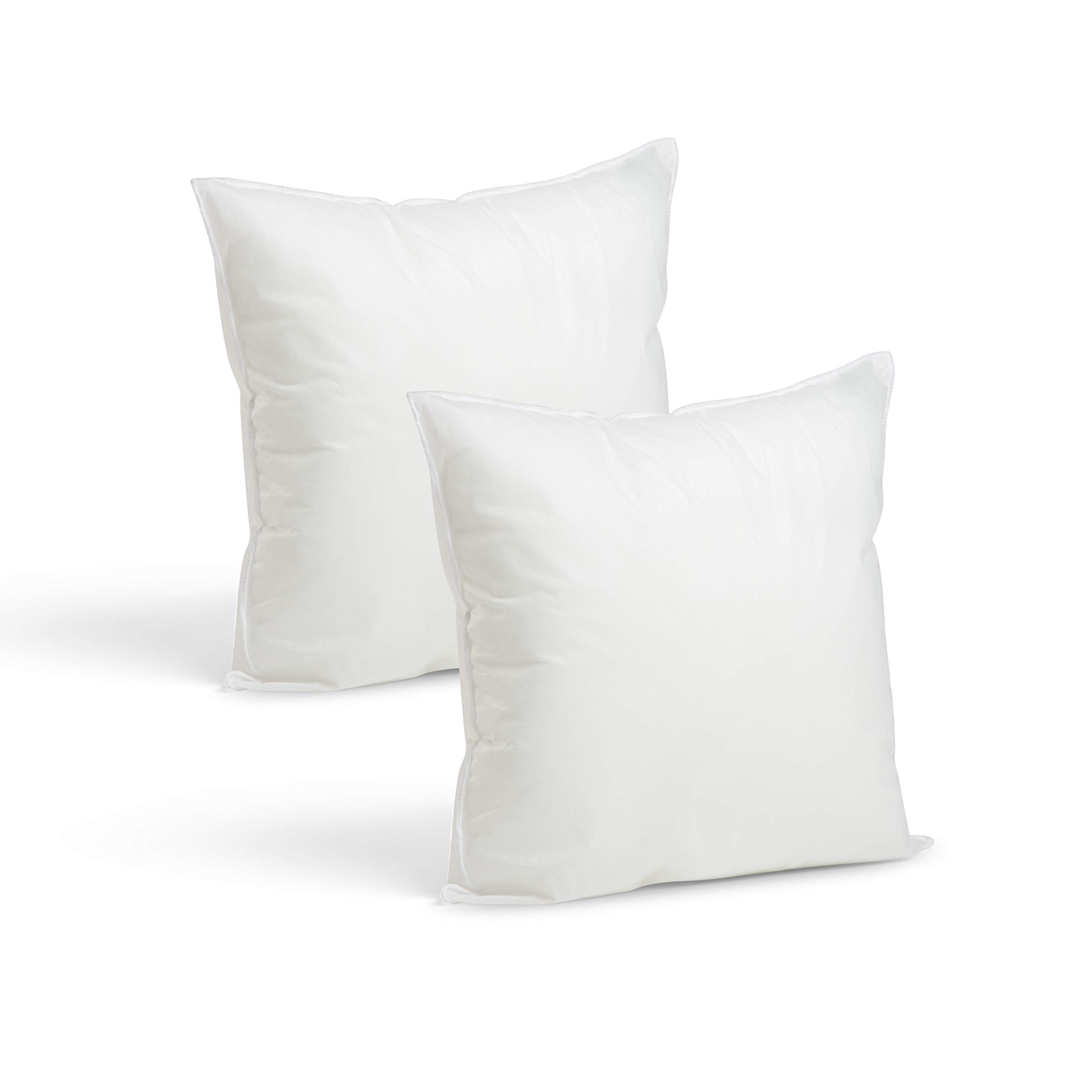 Set of 2-12 x 12 Premium Hypoallergenic Stuffer Pillow Inserts Sham Square Form Polyester, Standard/White – Made in USA