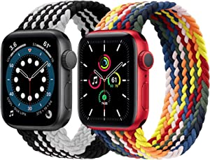 2-Pack Solo Loop Strap Compatible with Apple Watch Band 42mm 44mm,No Clasps No Buckles Stretchable Braided Sport Elastics Replacement Wristband for iWatch Series 6/5/4/3/2/1,SE,Colorful&WhiteBlack,12#