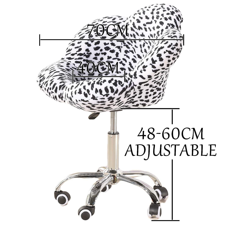 LYJBD sammet hem kontor stol justerbar svängbar rullande bekväm armlös skrivbordsstol ergonomisk svängbar stol förbättra hållningen nu och nacksmärta Svart