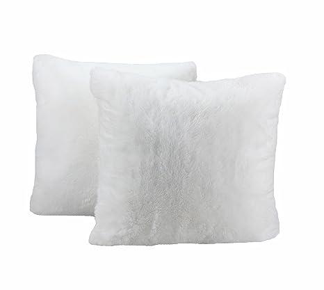 PimpamTex Cojines decoración 45x45 Pack 2 Unidades - Cojines para sofá y Dormitorio con Relleno - Modelo Chin (Blanco)