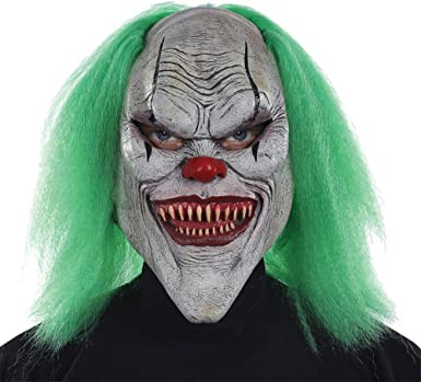 Adult Evil Clown Tears Overhead Mask Scary Circus Fancy Dress Outfit Accessory