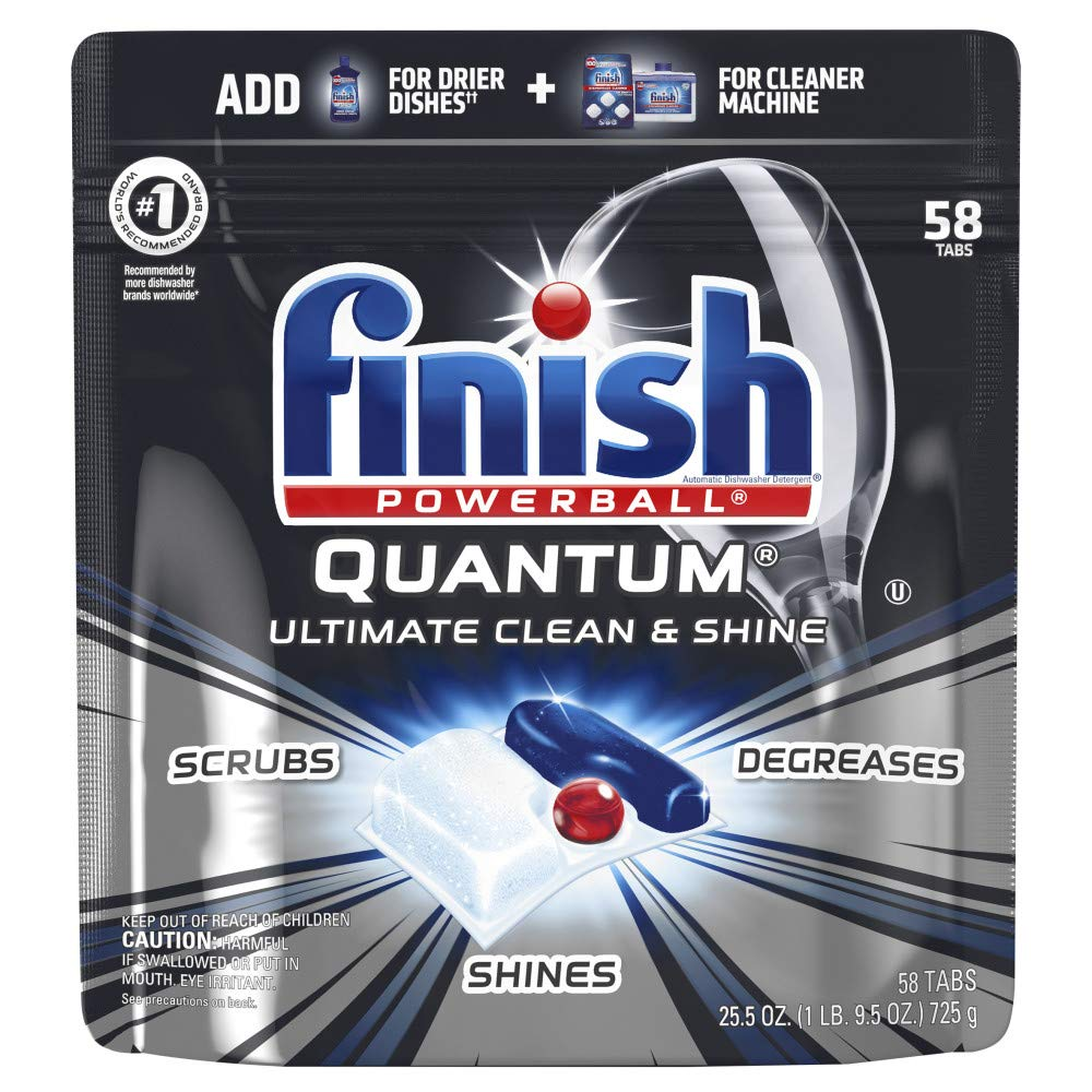 Finish - Quantum - 58ct - Dishwasher Detergent - Powerball - Ultimate Clean & Shine - Dishwashing Tablets - Dish Tabs by Finish (Image #1)