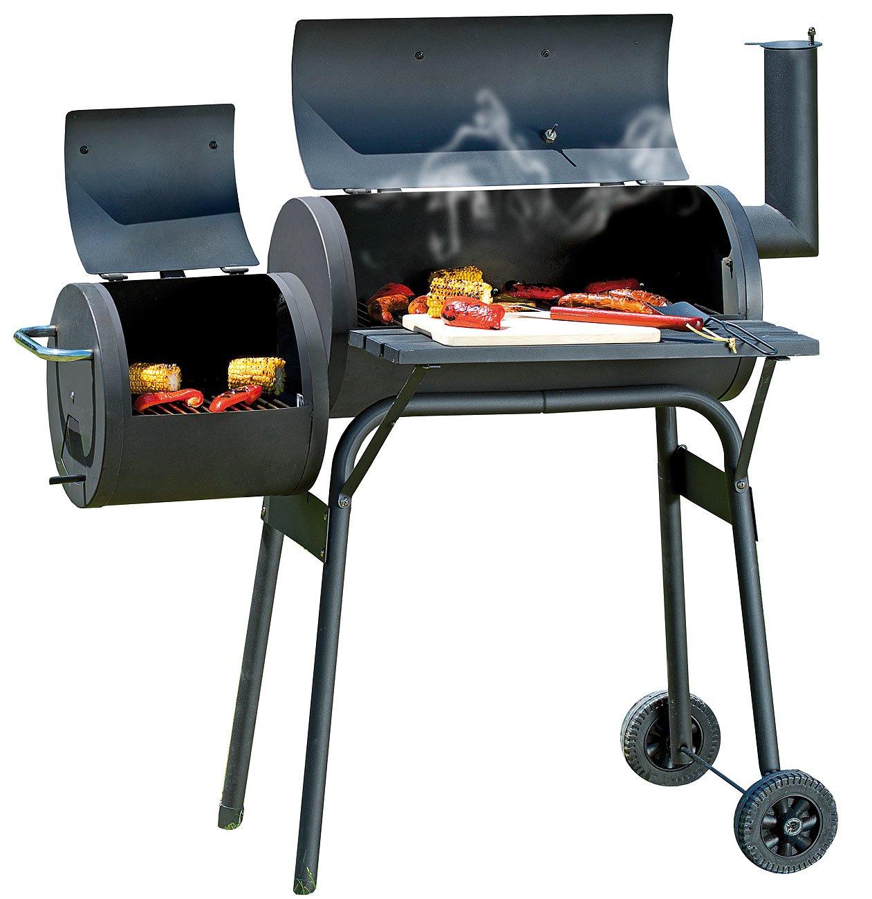Rosenstein & Söhne Holzkohle BBQ Smoker Grill-Wagen Classic mit 2 Brennkammern