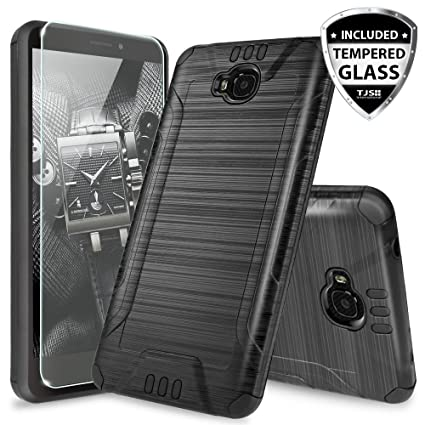 new products 36b68 869d7 Huawei Ascend XT H1611 Case, with TJS [Tempered Glass Screen Protector]  Dual Layer Shockproof Tough Brushed Hybrid Armor Drop Protection Case Cover  ...