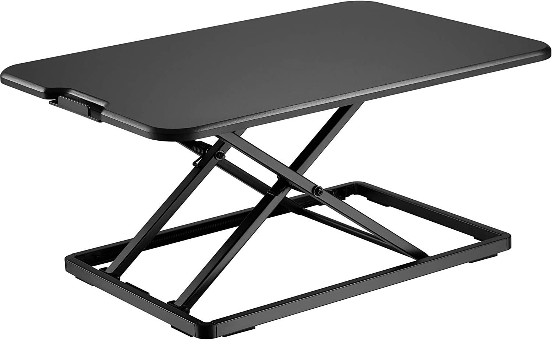 BONTEC Sit- Stand Desk Converter, Height Adjustable Super Sturdy Office Workstation with 65x47cm Platform, Ergonomic X-Frame Riser for PC Computer Screen, Keyboard, Laptop up to 8kg