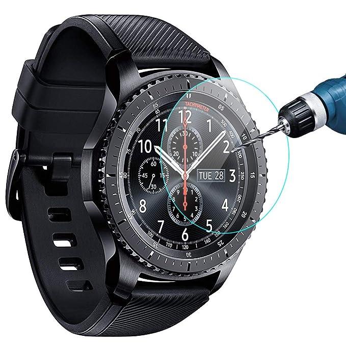 ea555aa84af7 KIMILAR Compatible Samsung Gear S3 & Samsung Galaxy Watch 46mm Screen  Protector, Waterproof Tempered Glass Cover Compatible Gear S3 / Galaxy  Watch ...