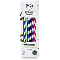 The Cheeky Panda – Bamboe Veelkleurige rietjes   Pack van 100 rietjes   100% biologisch afbreekbaar, kunststofvrij…