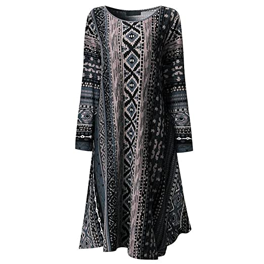 104f6e3c7678 Image Unavailable. Image not available for. Color: XILALU Women Loose Long  Sleeve Print Striped O-Neck Nation Style Autumn Casual Mini Dress
