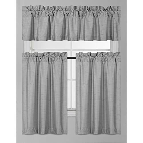 3 Piece Faux Cotton Espresso Brown Kitchen Window Curtain: Kitchen Drapes: Amazon.com