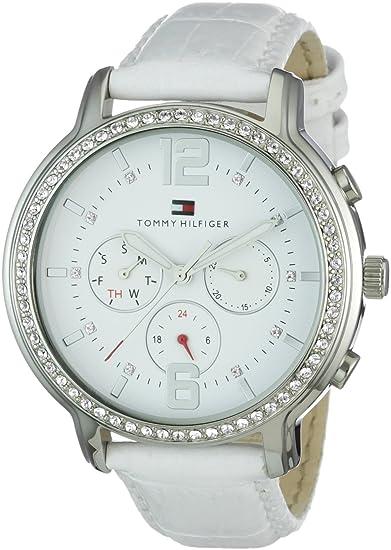 Tommy Hilfiger 1781009 - Reloj análogico de cuarzo con correa de cuero para mujer, color blanco: Amazon.es: Relojes