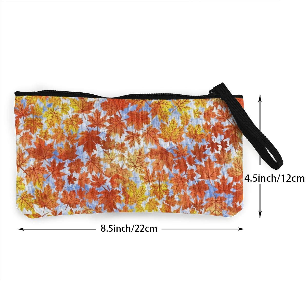Coin Pouch Fall Falling Autumn Leaves Canvas Coin Purse Cellphone Card Bag With Handle And Zipper