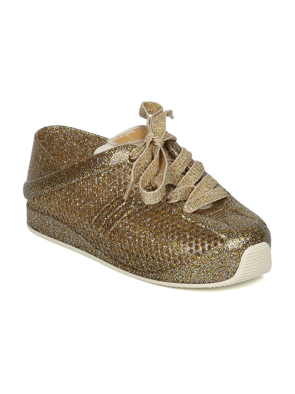 Melissa Mini Mini Love System PVC Perforated Lace Up Sneaker HC08 - Gold Glass (Size: Toddler 5)