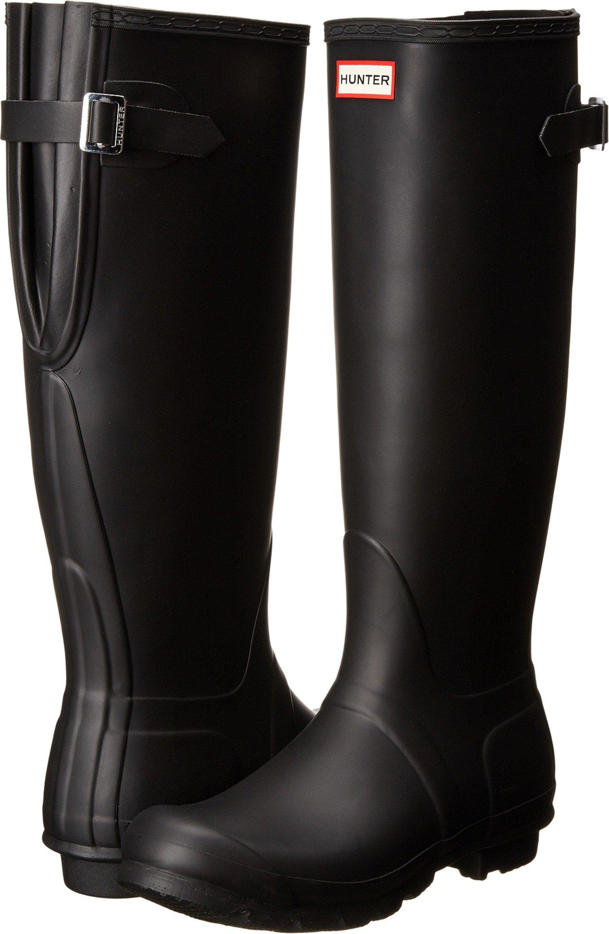 Hunter Women's Original Back Adjustable Rain Boots Black 8 M US