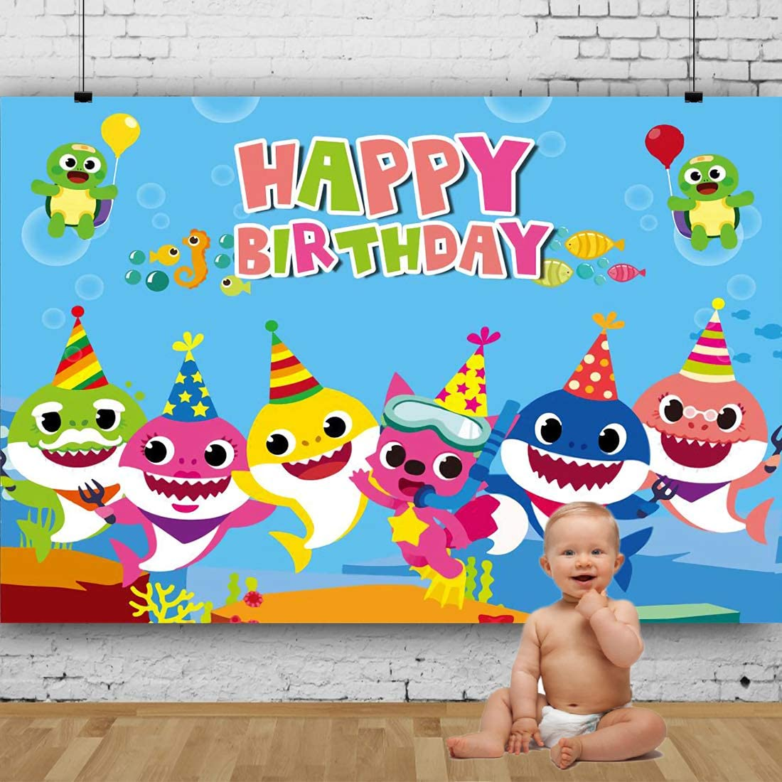 Baby Shark Backdrop for Photography Undersea World Whale Shark Starfish Seahorse Photo Background Children Birthday Party (5X3ft, Blue)