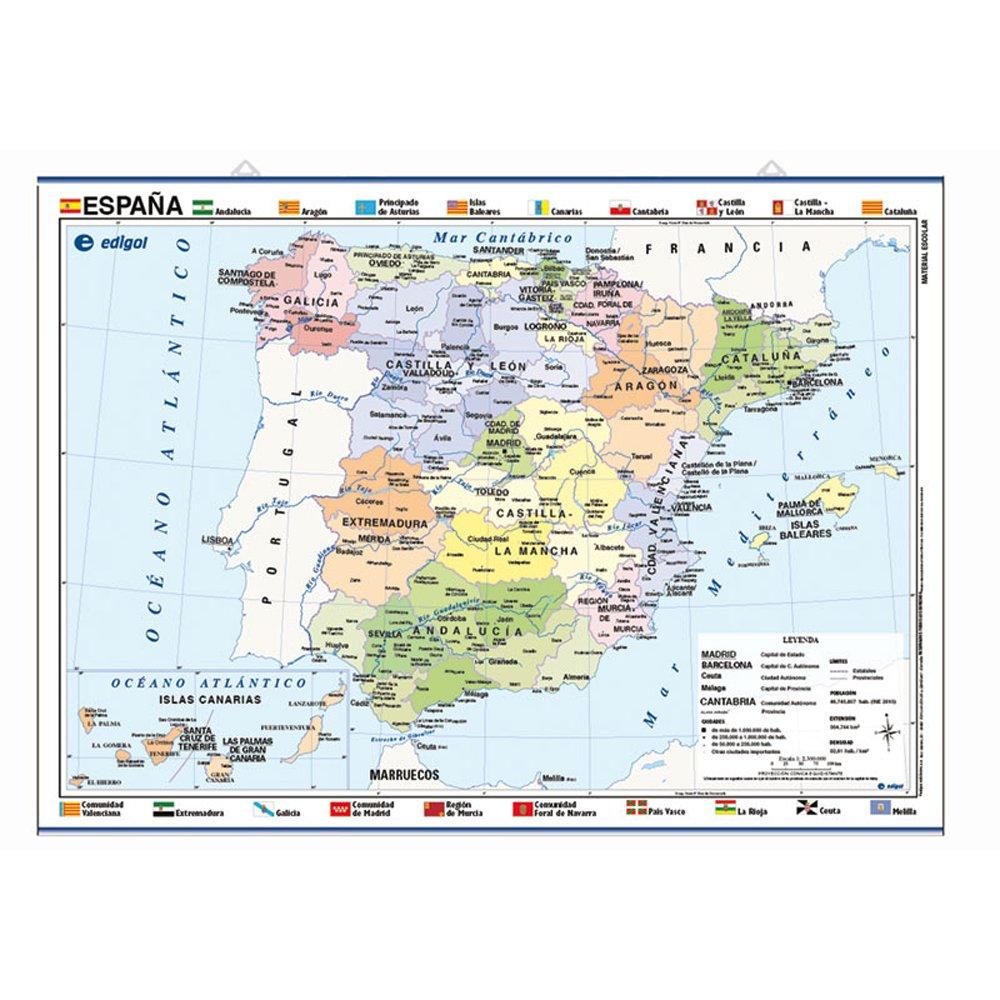 Mapa póster España impreso a doble cara Físico / Político envarillado, con colgadores y tubo 70 x 50 cm: Amazon.es: S. A. Edigol Ediciones: Libros