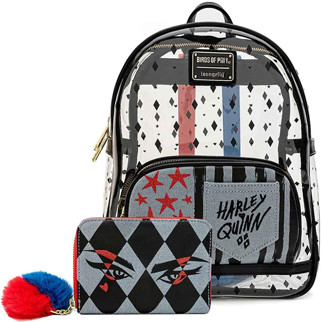 Loungefly Birds of Prey Harley Quinn Clear Mini Backpack and Wallet Set