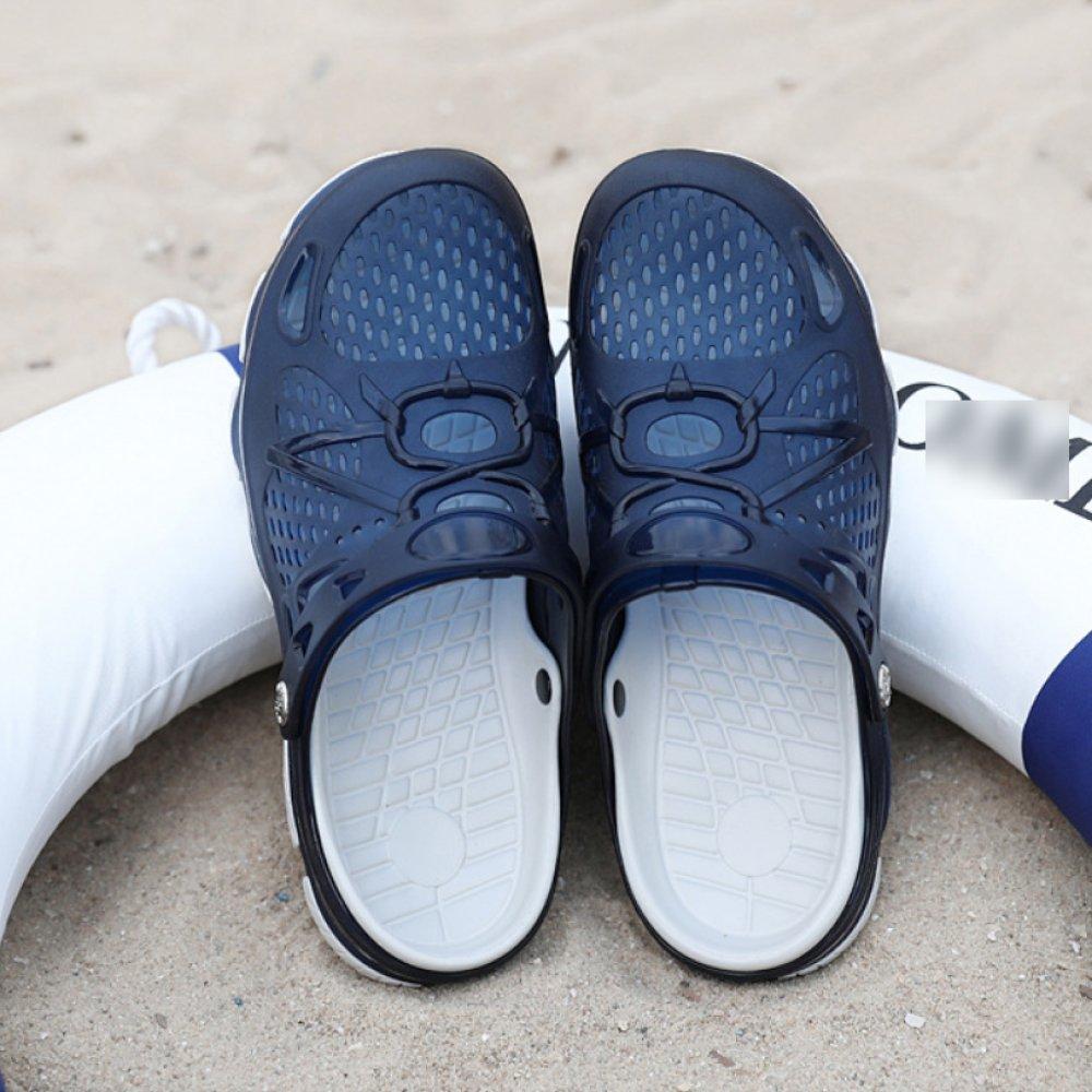 LYZGF Männer Jugend Casual Löcher Sandalen Zwei Mode Strand Rutschfeste Hausschuhe Zwei Sandalen Blau 65b0aa