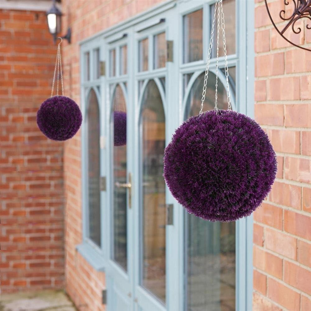 Popamazing - Bolas ornamentales de brezo artificial para colgar, color violeta, 2 unidades, 28 mm: Amazon.es: Jardín