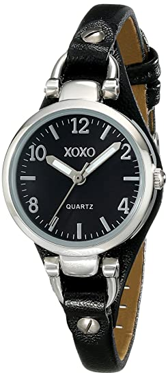 XOXO Womens XO3396 Silver-Tone Watch with Black Synthetic Leather Band