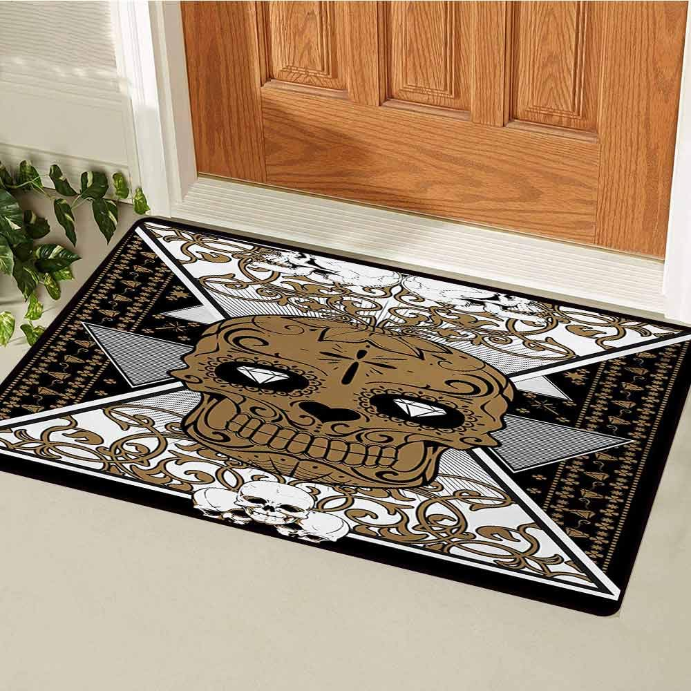 GUUVOR Tattoo Welcome Door mat Skull with Diamond Eyes and Floral Theme Vine Art Tattoo Renaissance Inspired Door mat is odorless and Durable W35.4 x L47.2 Inch Brown and Black