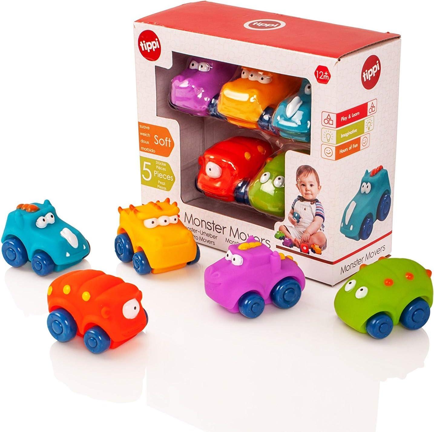 Tippi Monster Movers Juego de Empuje Suave para automóvil Play Along - Bebé o Juguete para niños pequeños (Set de 5)