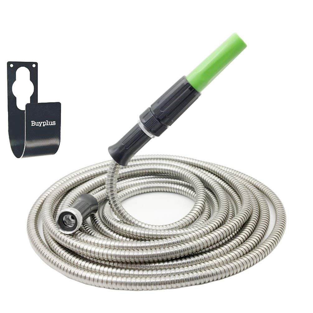 Buyplus Metal Garden Hose Stainless Steel with Metal Hook Lightweight, Kink-Free, Stronger Than Ever, Easy to Use (25ft)