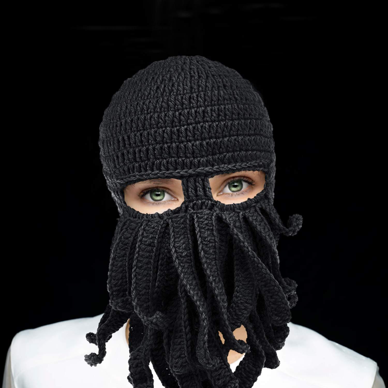 Petrunup Máscara de pulpo con 3 orificios Pasamontañas Tentáculo Esquí Gorro de invierno Tejido Sombrero de nieve Negro: Amazon.es: Ropa y accesorios