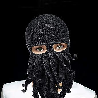 c3cf805949a Petrunup Funny Octopus Tentacle Beard Balaclava Ski Mask Winter Knit Beanie  Hat
