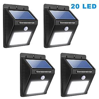 Miserwe Solar Led Lights 4 Pack Solar Motion Light 20 LED Motion Sensor Led  Solar Lights
