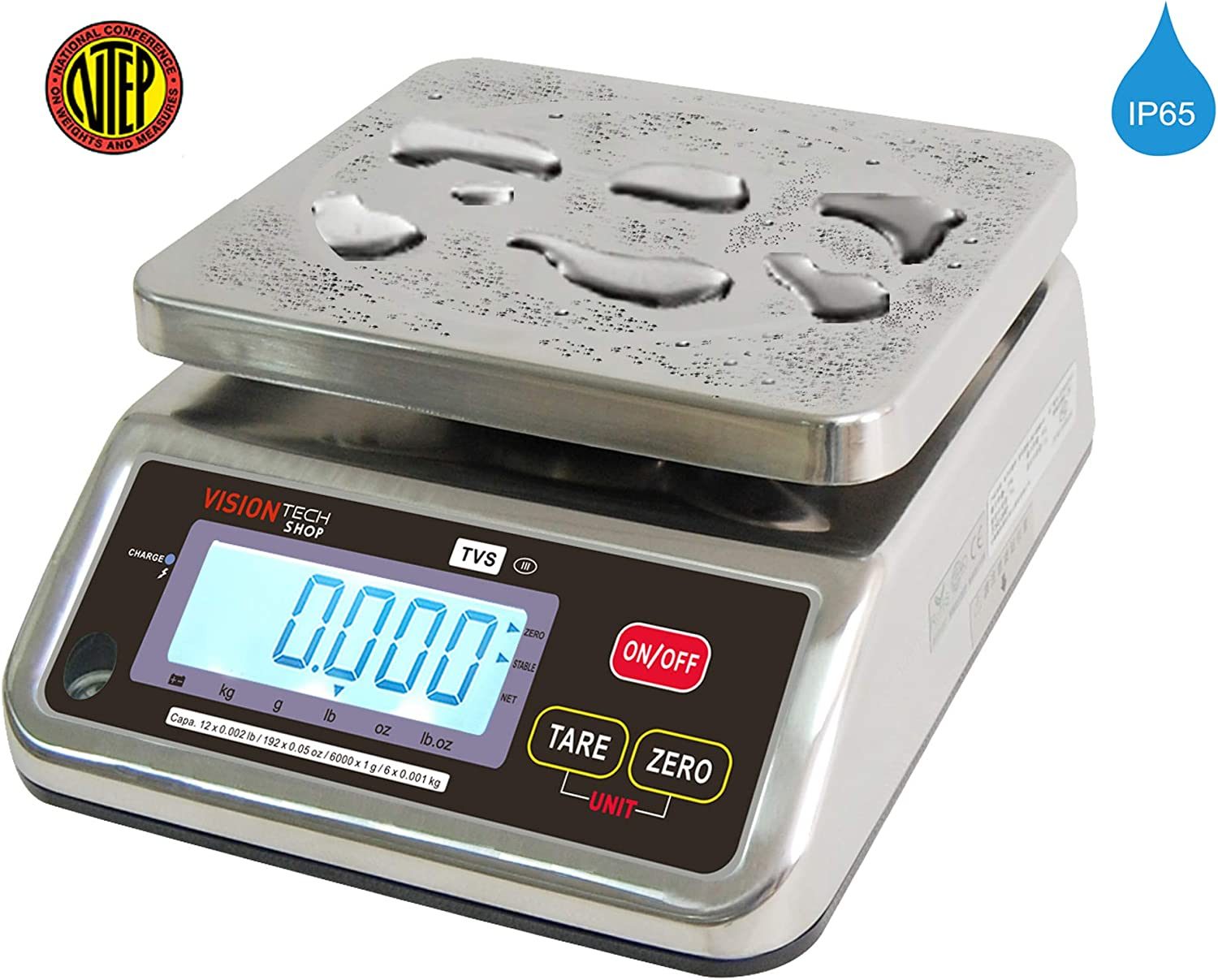 0.001lb Readability Lb//Oz//Kg//g Switchable 6lb Capacity NTEP Legal for Trade VisionTechShop TVS Portion control Stainless steel Washdown Scale Low Profile Design Dual Display