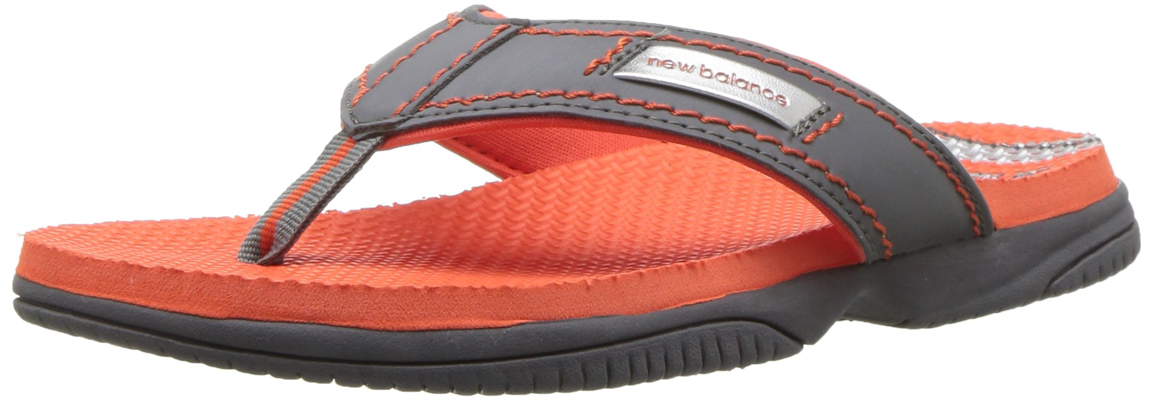 New Balance Unisex-Kids Mojo Thong Flip-Flop, Grey/Orange, P13 M US Little Kid