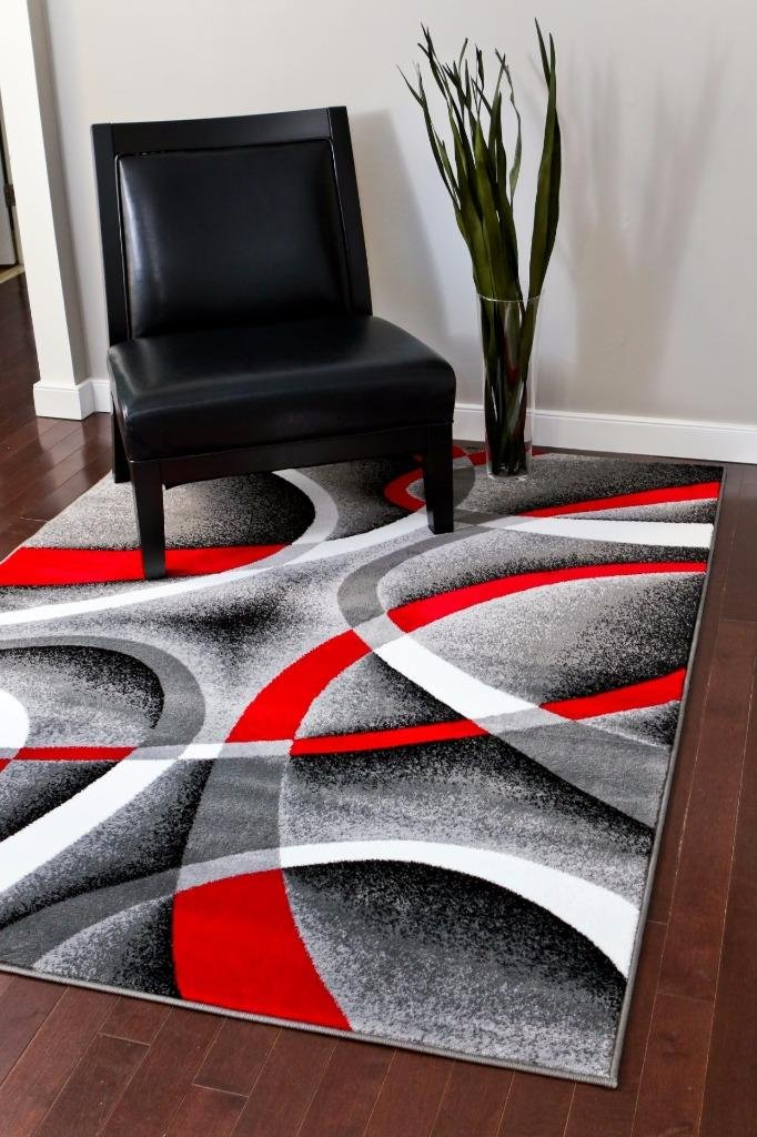 Amazon.com: 2305 Gray Black Red White Swirls 2u00270 X3u00274 Modern Abstract Area  Rug Carpet: Kitchen U0026 Dining