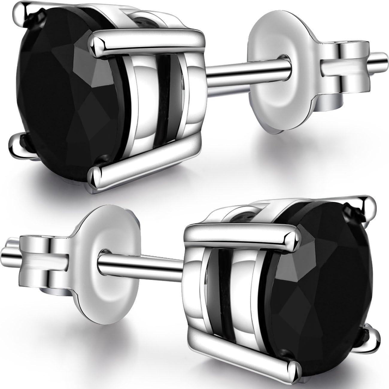 Jiamiao Pendiente Plata de Ley 925 Unisex Cristal Zirconia Diseño Simple, AAAAA + Zircon Pendientes de diamantes Pendientes de plata para mujeres/Hombres/Unisex, 4-8 mm
